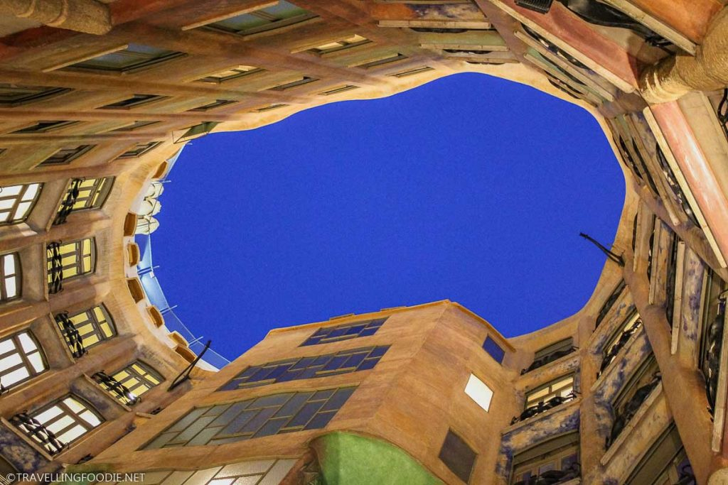 Looking up from the ground level at Casa Mila