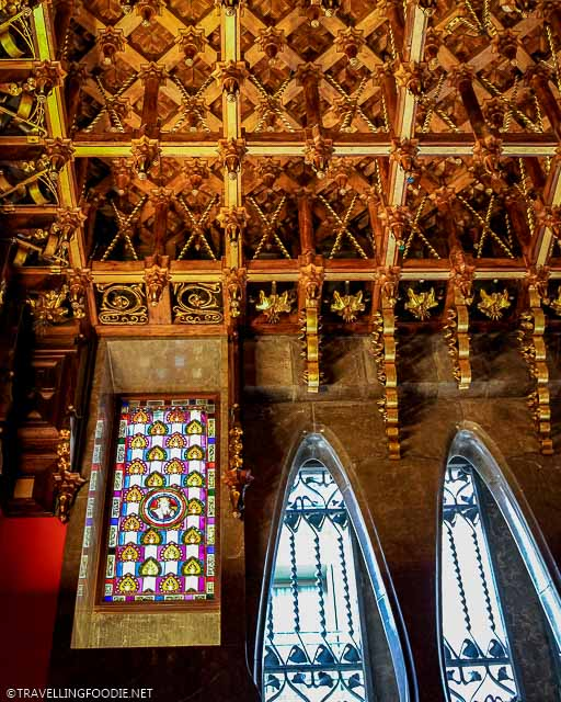 Ceiling of visitors' room and ladies' powder room at Palau Guell in Barcelona