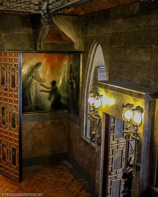 Entrance door and painting at Palau Guell in Barcelona