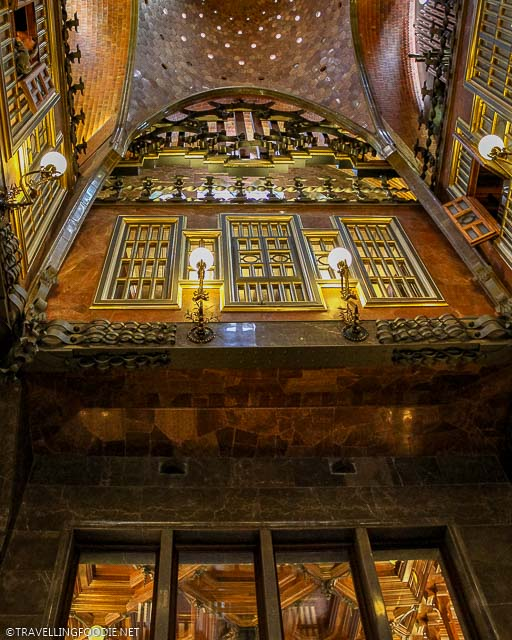 The Central Hall walls and windows at Palau Guell in Barcelona