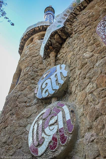 Park Guell sign on Porter's Lodge, one of Gaudi Attractions in Barcelona