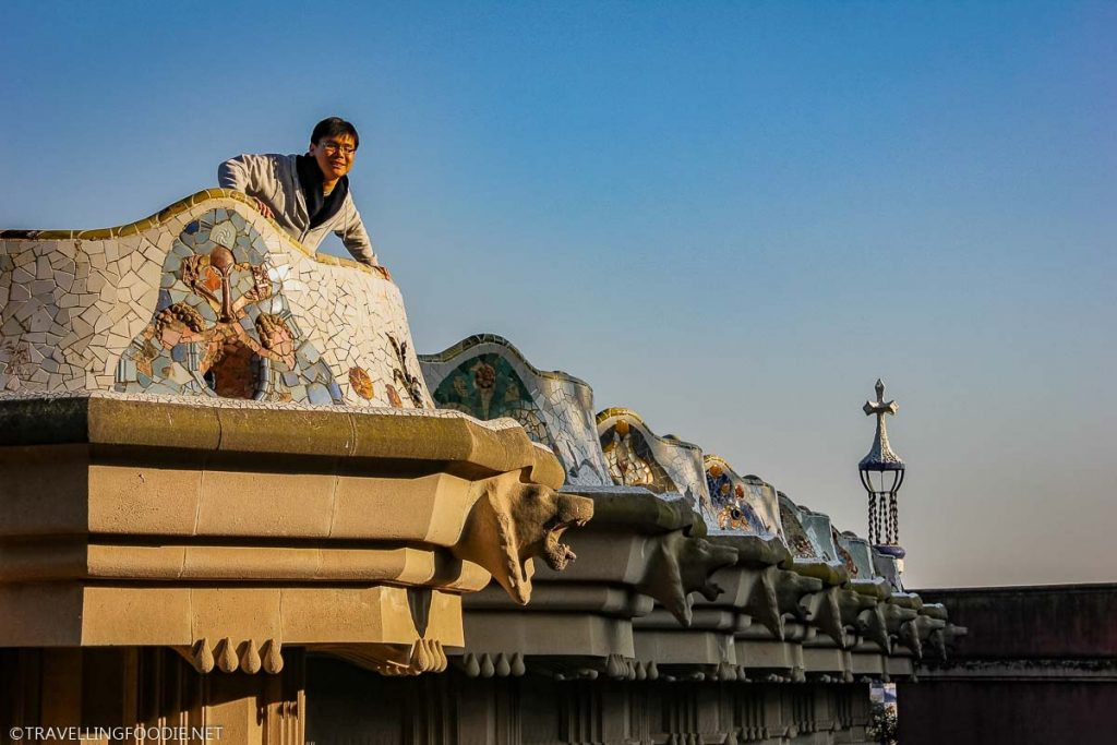 Park Guell roofs with the traditional Catalan clay tiles