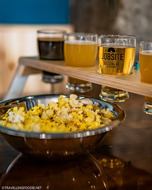 Beer Flight with Buttered Popcorn at Jobsite Brewing in Stratford, Ontario