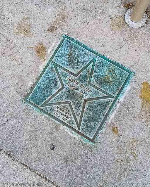 Justin Bieber Star outside Avon Theatre in Stratford, Ontario