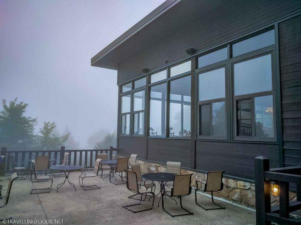 Foggy day at The Pollock Dining Room at Skyland in Shenandoah National Park Virginia
