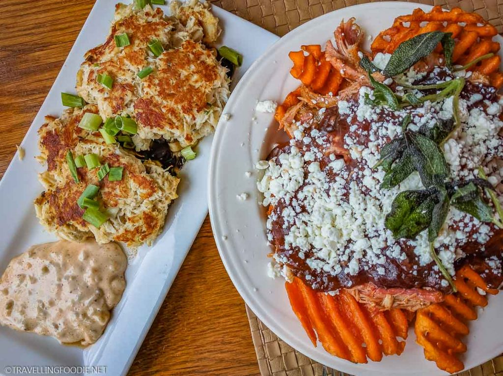 Maryland Crab Cakes and Sweet Potato Poutine at the Skyland's Pollock Dining Room