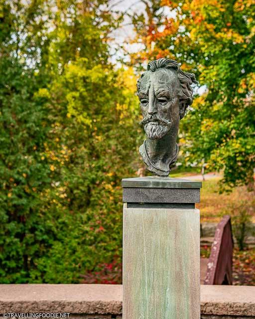 William Shakespeare bust at the Shakespearean Gardens in Stratford, Ontario