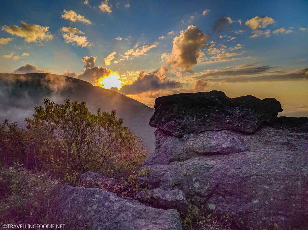 Sunset with Rock at Shenandoah National Park, Virginia
