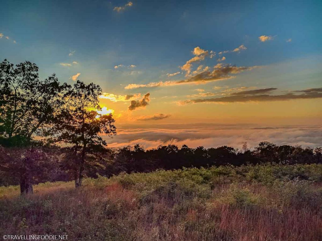 Sunset among the clouds at Shenandoah National Park, Virginia in Fall
