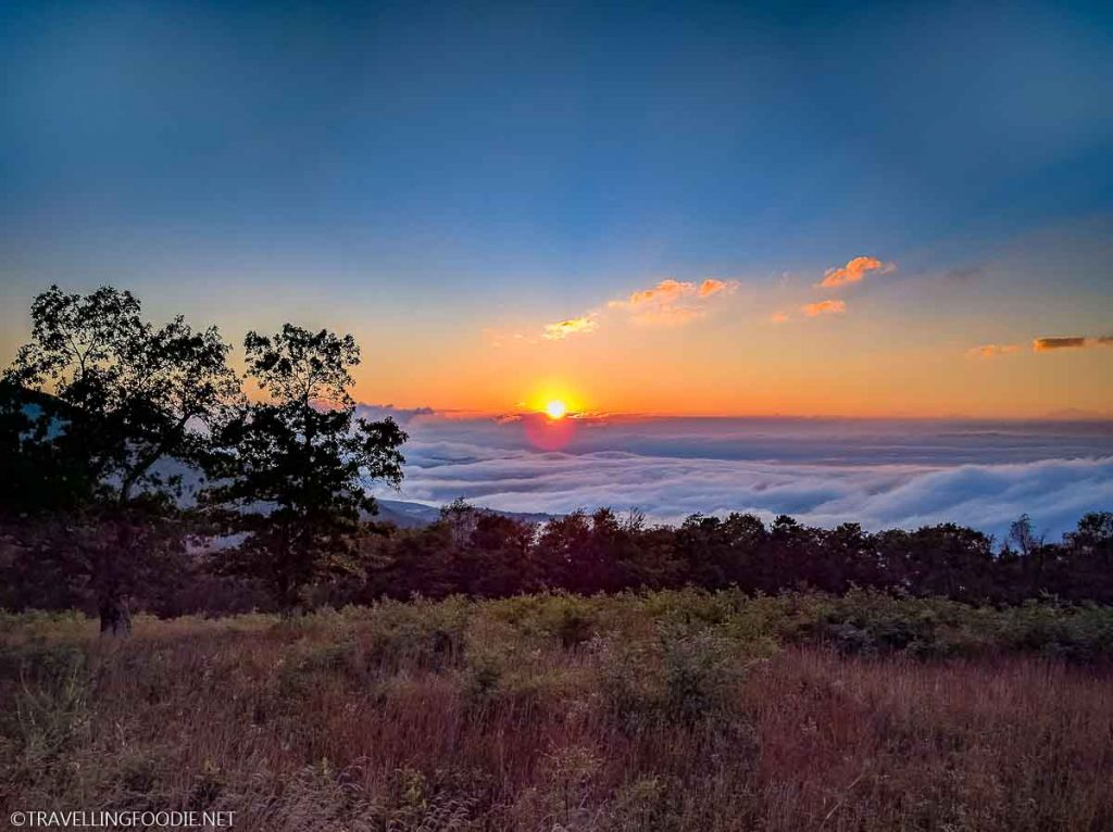 Fall sunset going into the clouds at Shenandoah National Park in Virginia
