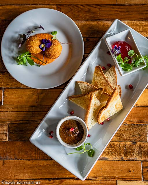 Potato Croquettes and Bruleed Chicken Liver Pate at The Common in Stratford, Ontario