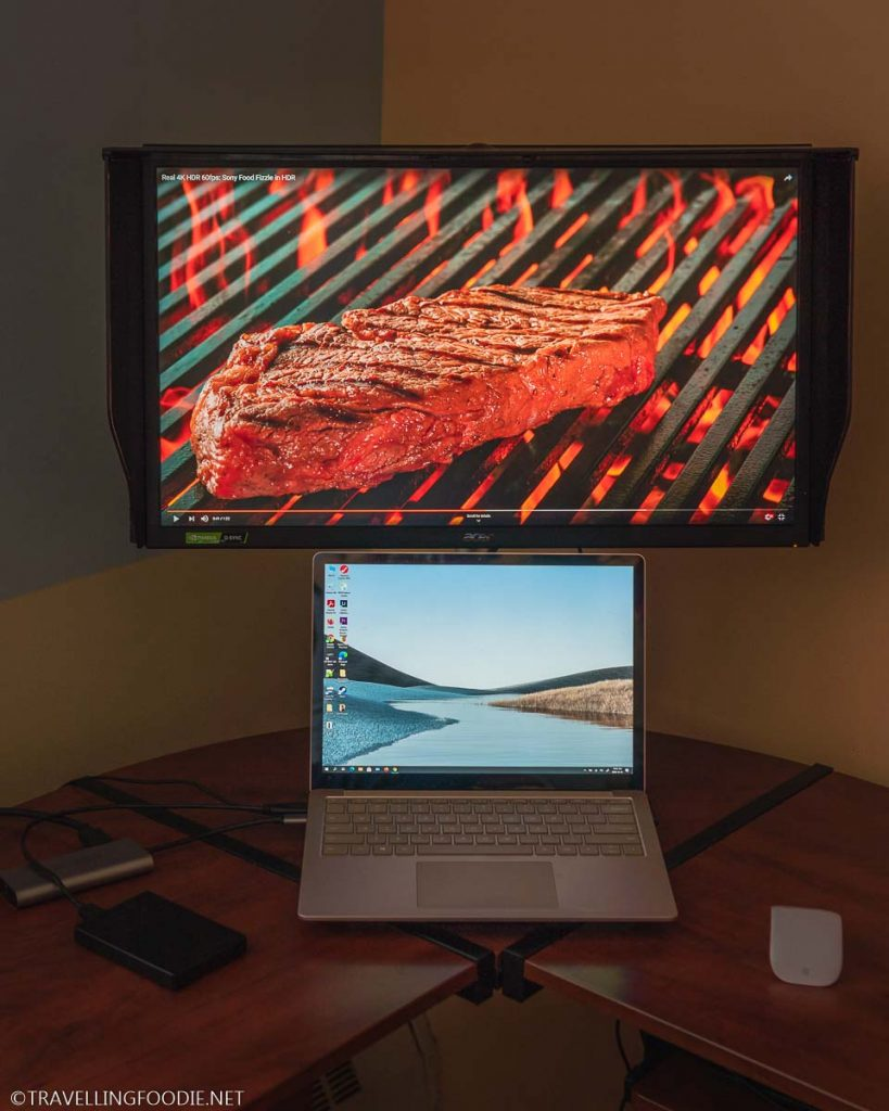 Acer ConceptD CP3 CP327K 4K Monitor showing Steak on Grill
