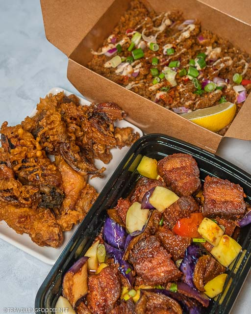 Chicken Skin Sisig, Pork Belly Shrimp Paste and Fried Whole Baby Squid from Casa Manila in Toronto, Ontario