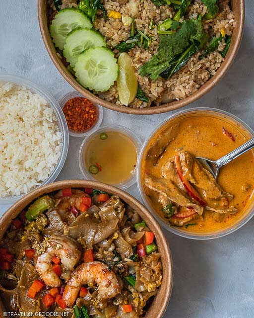 Thai Fried Rice, Beef Panang Curry and Shrimp Pad See Ew at Pai Northern Thai in Toronto, Ontario