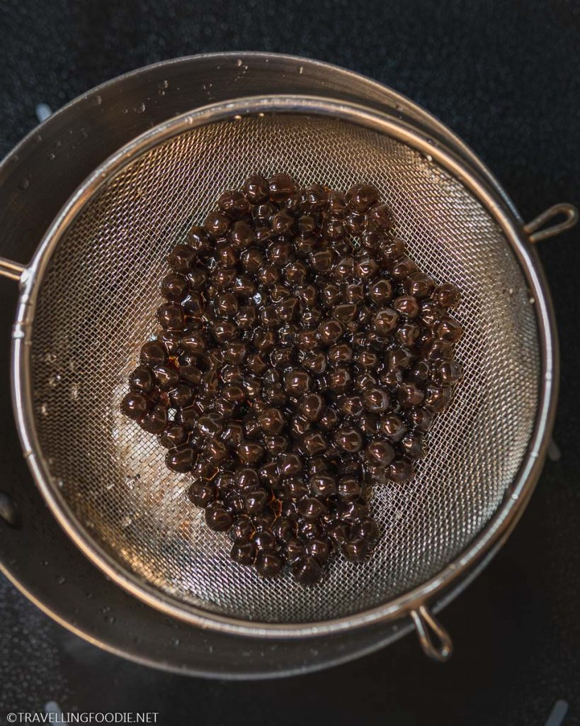 Cooked Tapioca Pearls on strainer