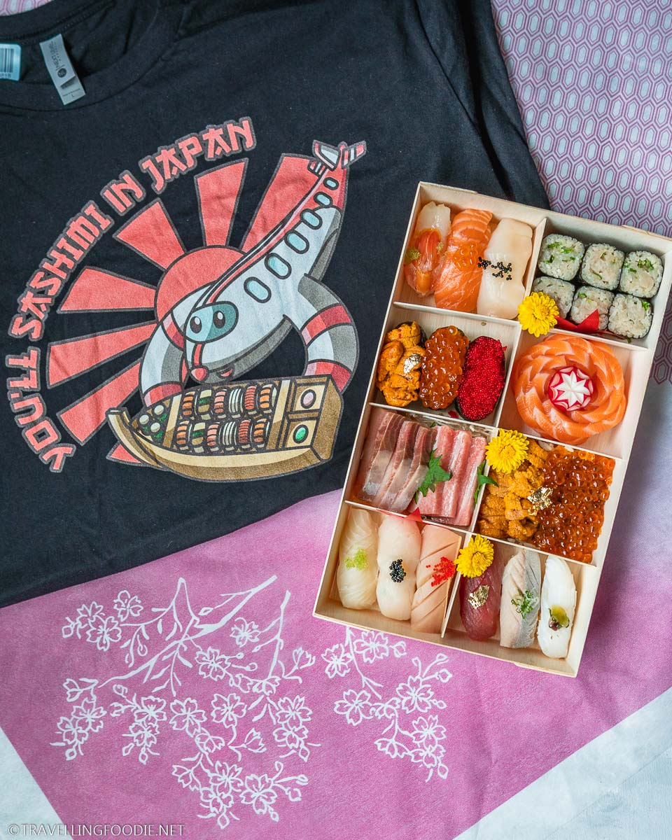 You'll Sashimi in Japan Travelling Foodie Merch with Moriawase Box from Rain Izakaya in Toronto