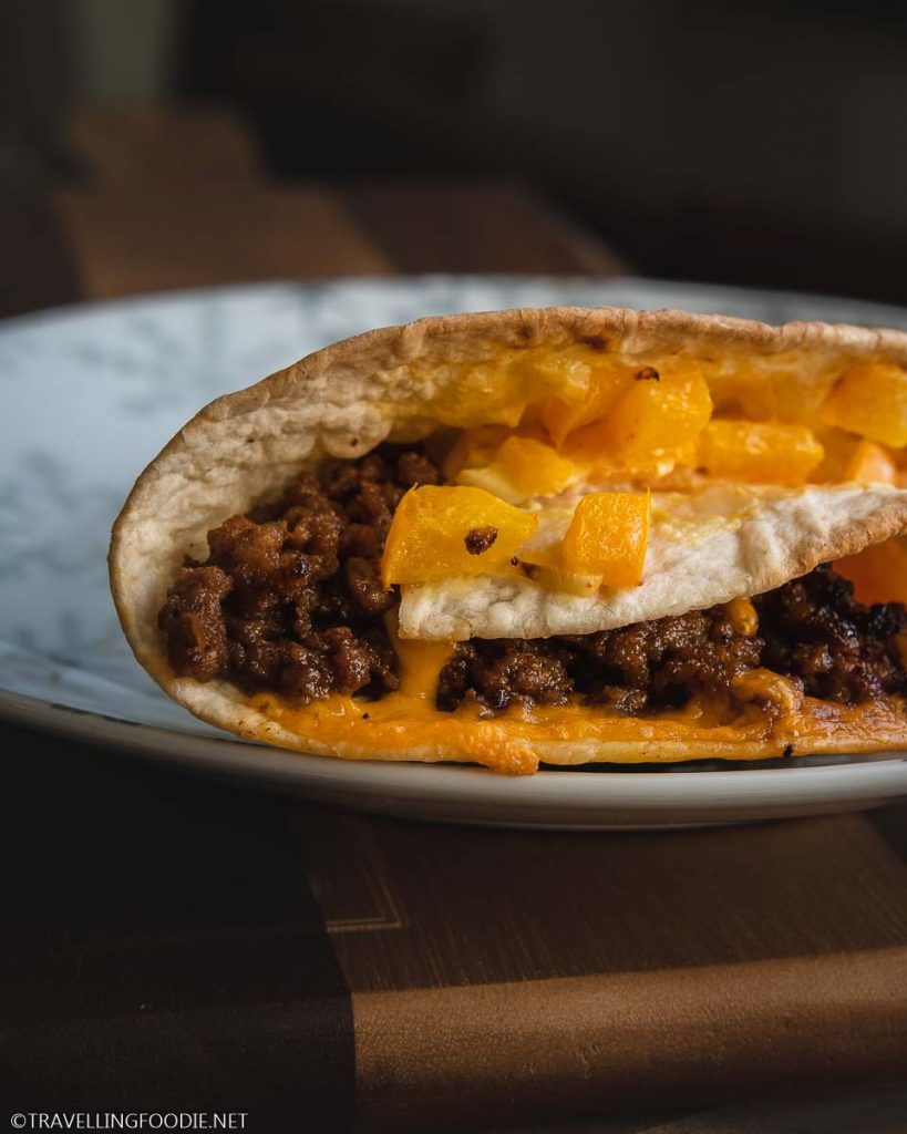 Ground Beef Wrap with Cheese, Sweet Bell Peppers and Cabbage Slaw