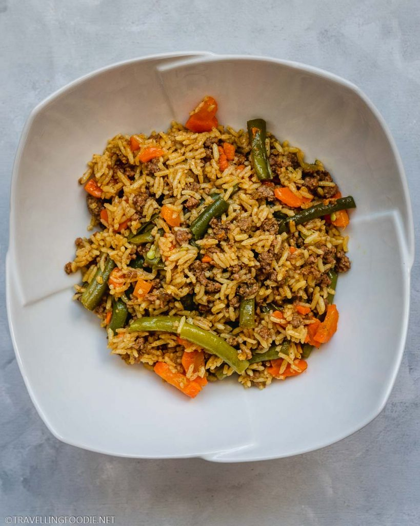 Instant Pot Beef Biryani on a bowl