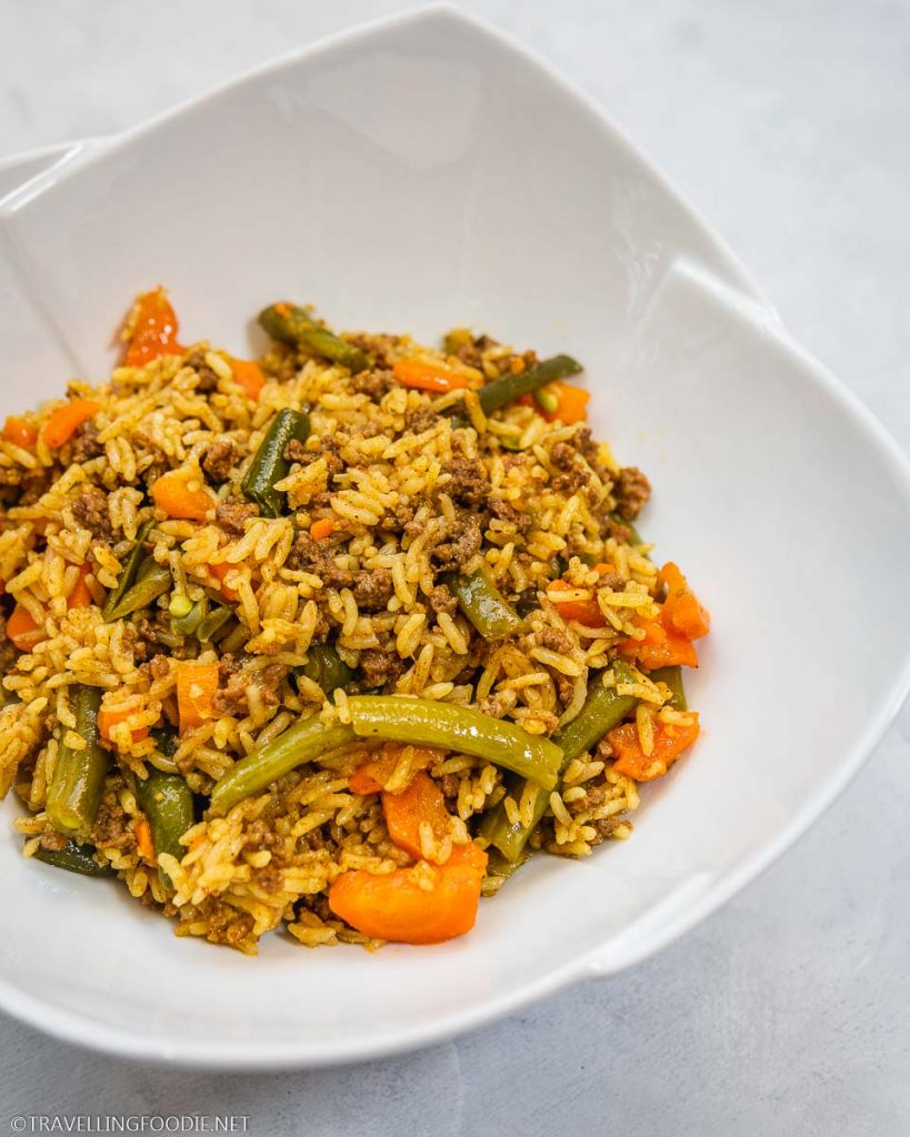 Instant Pot Biryani with beef, green beans, carrots and shallots