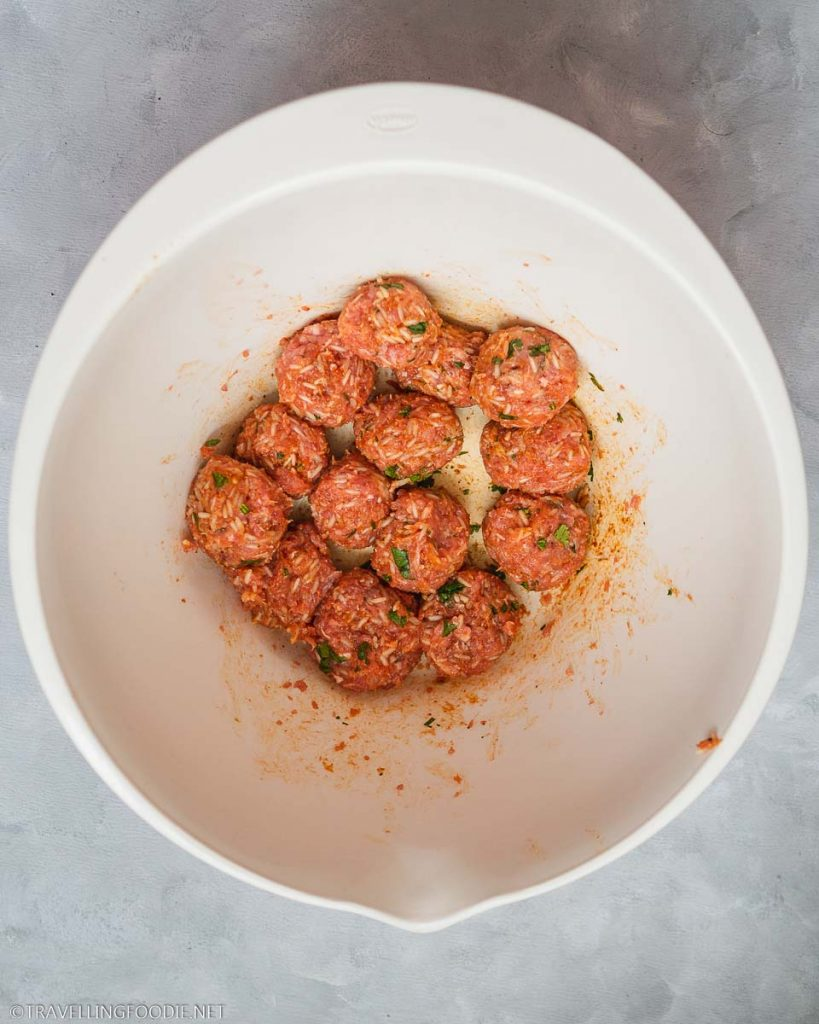 Raw Beef and Rice Meatballs