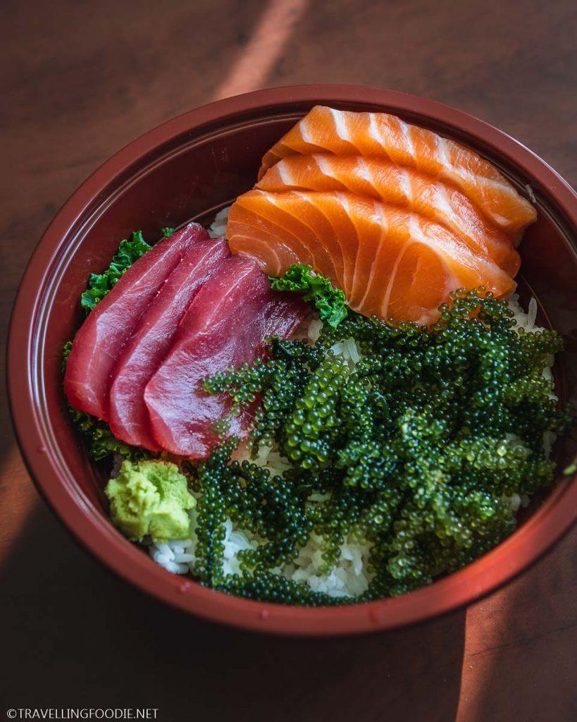 Raw Salmon and Tuna Don with Sea Grapes