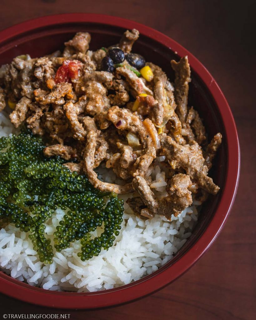 Sea Grapes Seaweed with Beef Rice Bowl