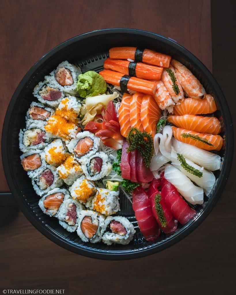 Sushi, Sashimi, Maki Round Platter with Sea Grapes