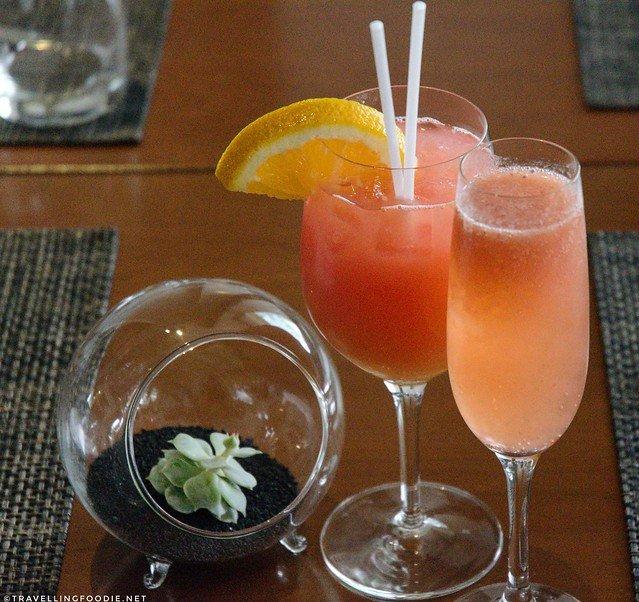 Strawberry Guava Sparkling Lemonade and Mango, Banana, Pear, Lychee Juice