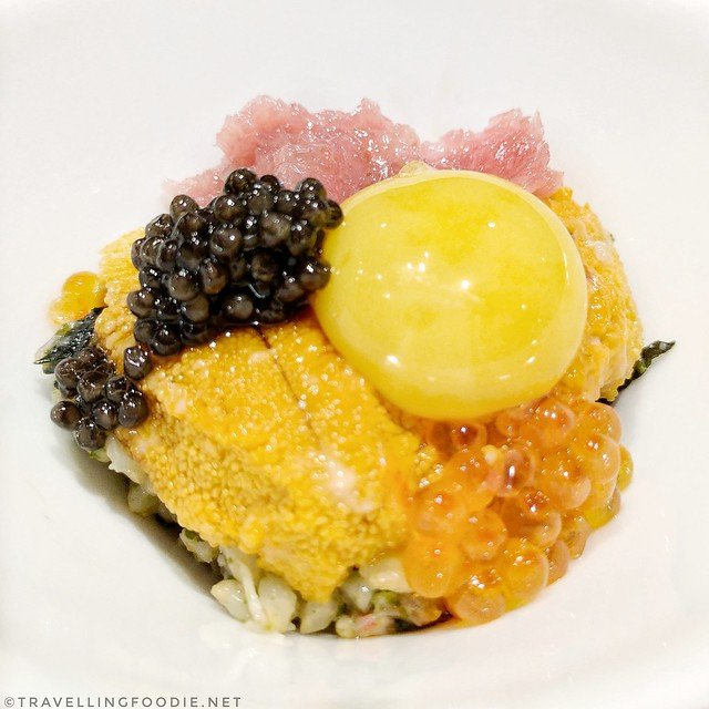 Brown rice mixied with sashimi