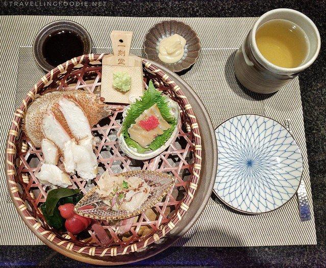 Hairy Crab, Baby Abalone, Orange Clam, Pickled Squash at Kame Omakase in Las Vegas