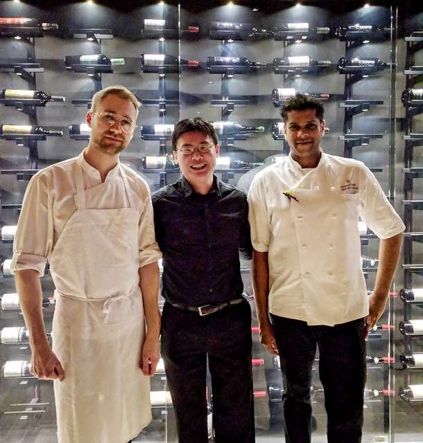 Chef Richard Singh and Chef Sean MacDonald with Travelling Foodie Raymond Cua at Bosk at the Shangri-la Toronto
