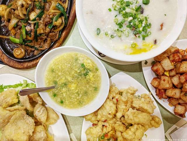 Fried Chili Turnip Patties, Fried Fish, Congee, Fried Squid, Sizzling Beef at Congee Queen in Toronto