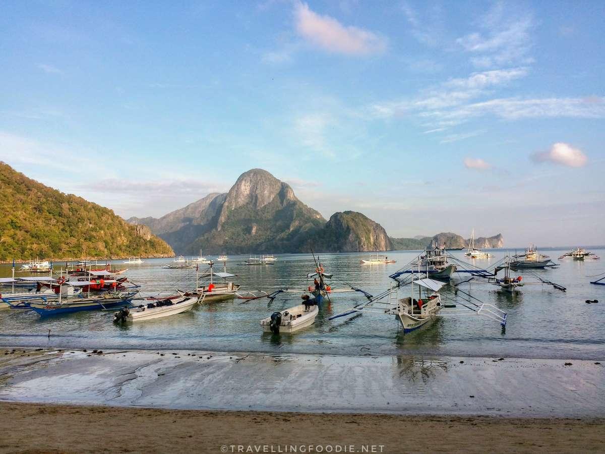 El Nido, Palawan main island with rows of bangka boats